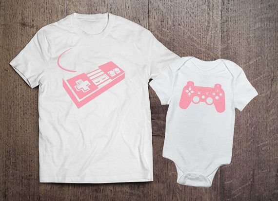 """$33.89, Threaded Tees. <a href=""""https://www.etsy.com/listing/280873632/video-game-matching-mom-and-daughter?ga_order=most_rel"""