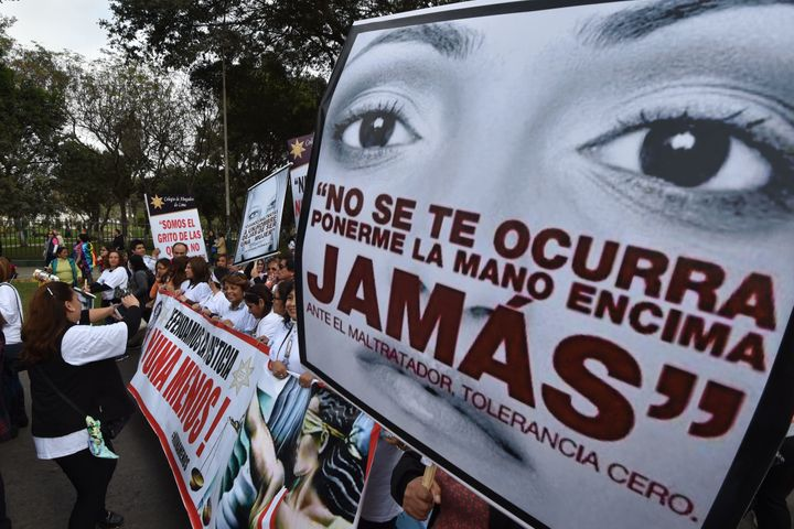 "Thousands of demonstrators participate in the ""Ni una menos"" (Not One Less) march in Lima, Peru. Protestors held banners&nbsp"