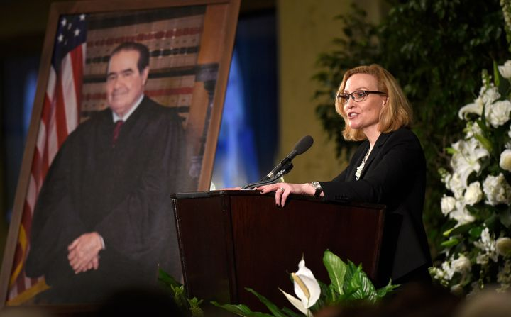 The Michigan Supreme Court Justice Joan Larsen, seen here eulogizing U.S. Supreme Court Justice Antonin Scalia, is one of two