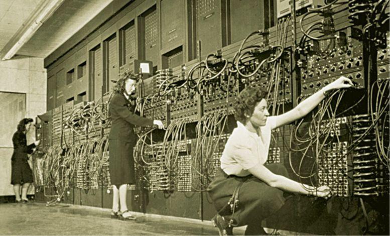 Staff programming ENIAC at University of Pennsylvania, USA, circa 1946