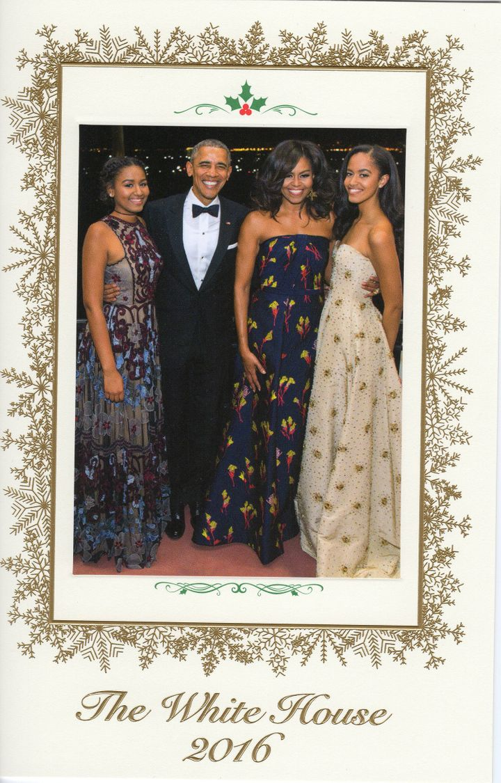 Photo Christmas Card Obamas Send Out Their Last Christmas Card From The White House