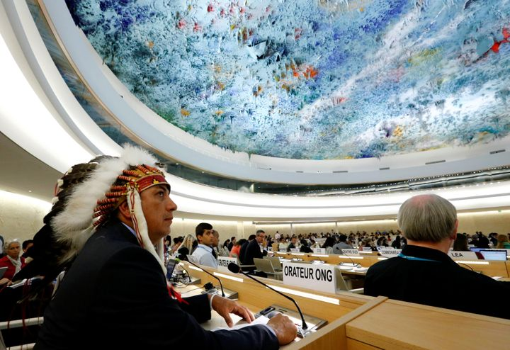 Dave Archambault II, chairman of the Standing Rock Sioux tribe, is seen at the United Nations in Geneva, Sept. 20, 2016. Arch