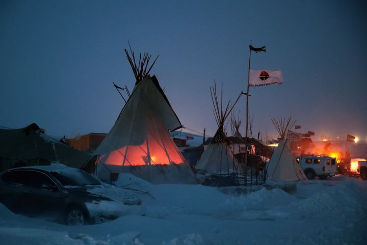 Protesters at Oceti Sakowin brace for brutal weather this week outside Cannon Ball, North Dakota.