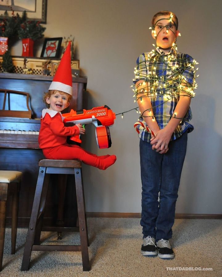 Alan Lawrence's son Rockwell has become a real Elf on the Shelf for the second year in a row.