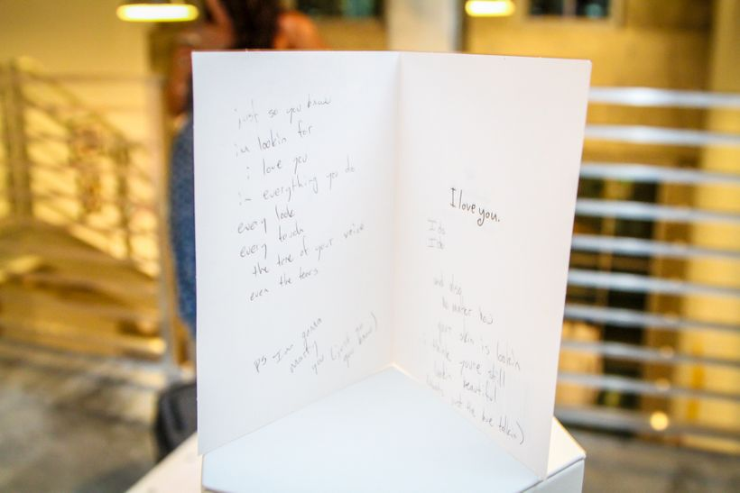 A love note represents one of the many elements left behind after a break-up at the Love Lost exhibition during Art Basel Mia