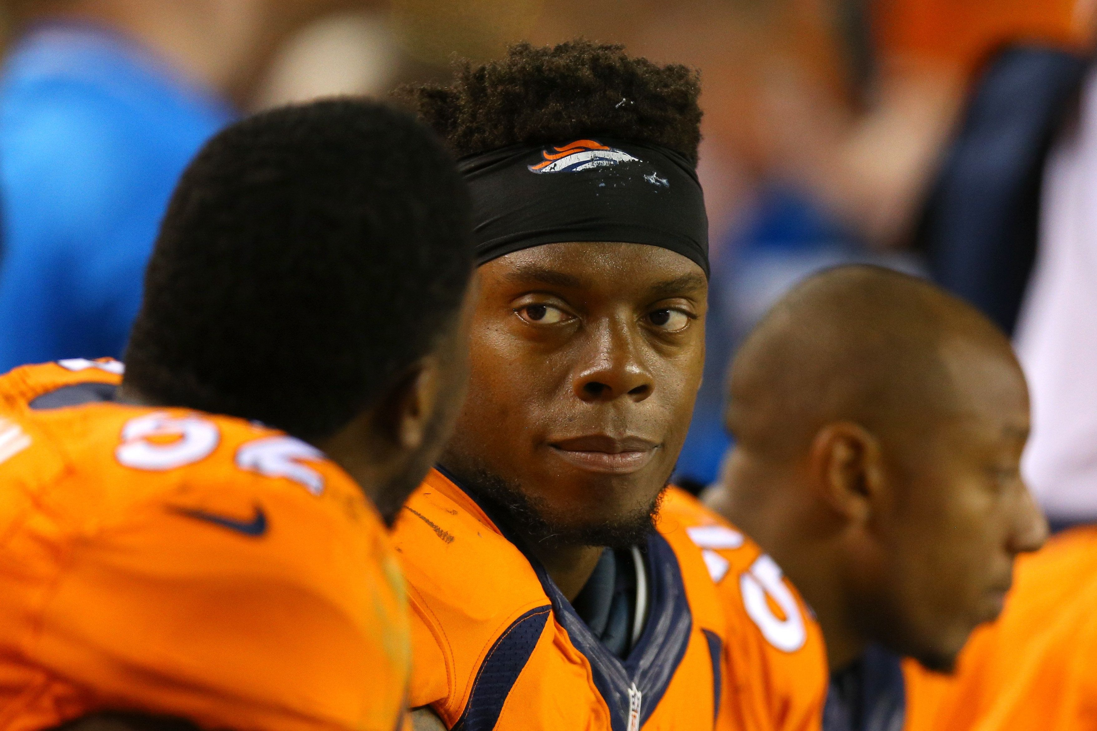 Brandon Marshall of the Denver Broncos looks on from the bench at Mile High Stadium earlier this yearin Denver, Colorad