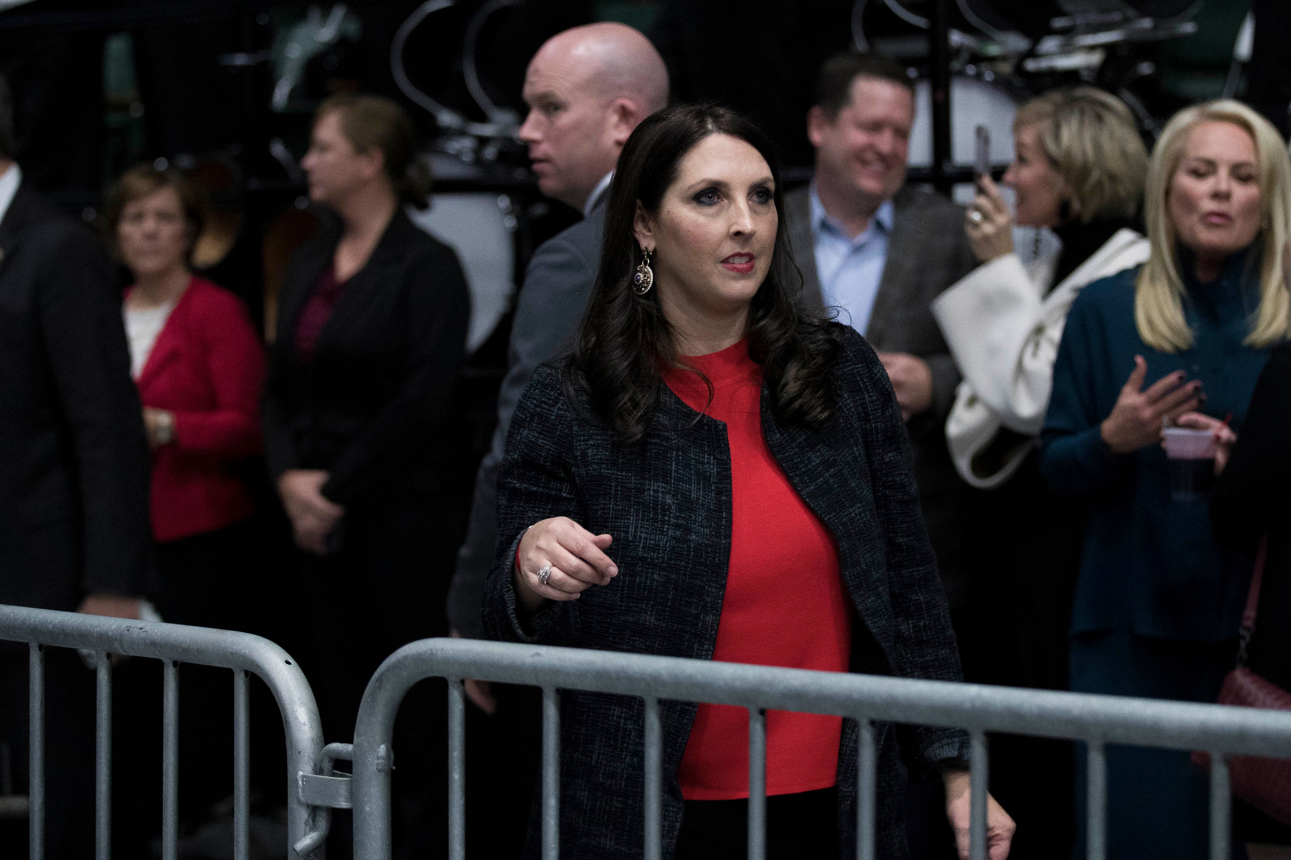 vGRAND RAPIDS, MI - DECEMBER 9: Michigan Republican Party Chair Ronna Romney McDaniel exits the stage after speaking ahead of President-elect Donald Trump at the DeltaPlex Arena, December 9, 2016 in Grand Rapids, Michigan. President-elect Donald Trump is continuing his victory tour across the country. (Photo by Drew Angerer/Getty Images)