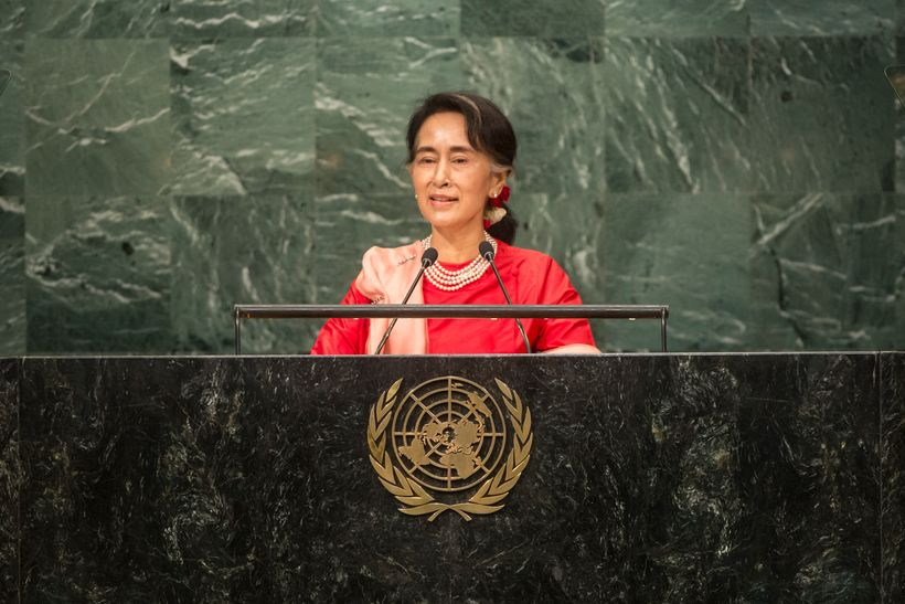 Former Nobel Peace Prize winner Aung San Suu Kyi address the UN General Assembly in September this year, she has faced critic