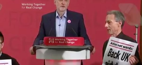 Protesters Led By Peter Tatchell Interrupt Jeremy Corbyn Speech To Demand Action On Syria