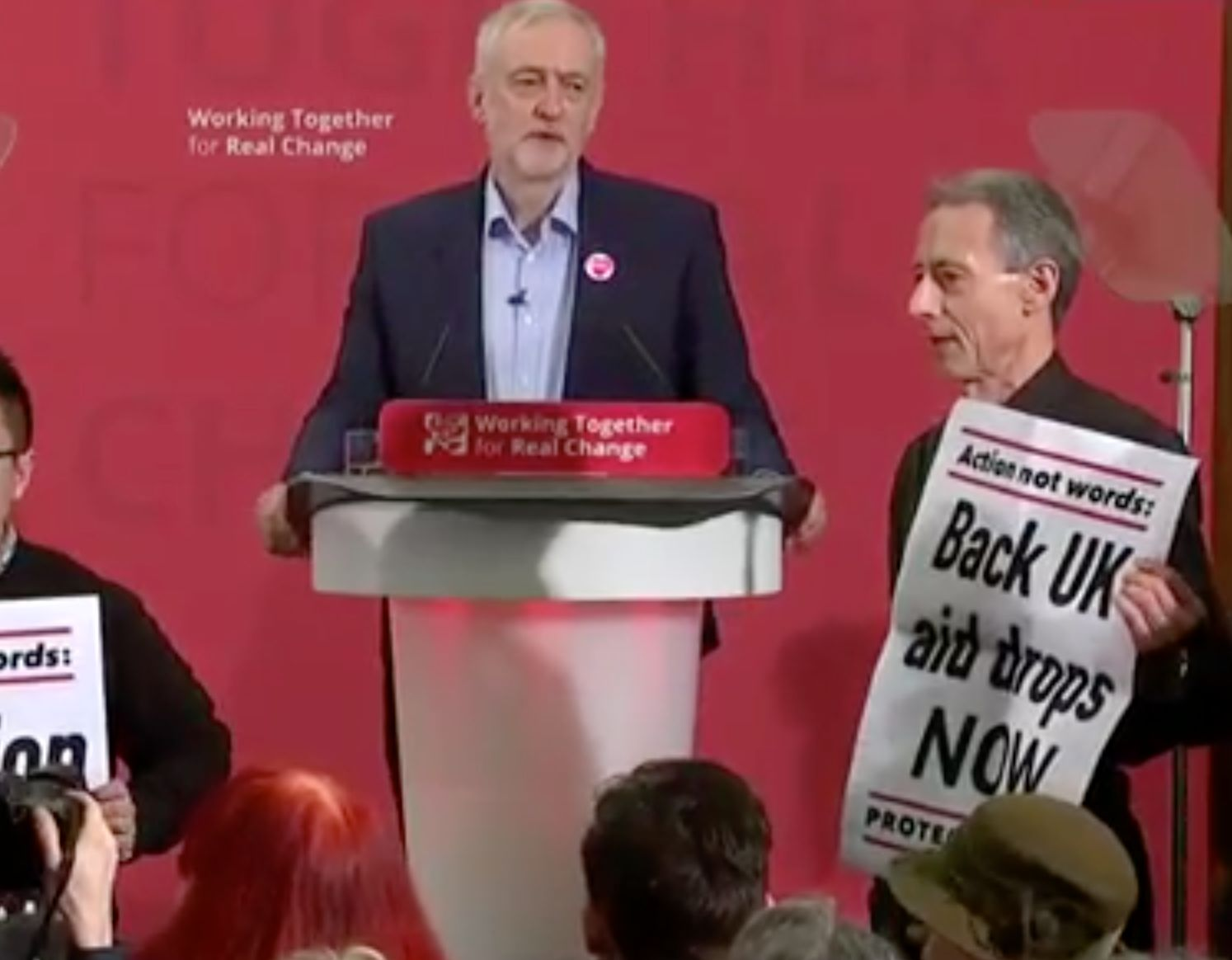 Protesters Led By Peter Tatchell Interrupt Jeremy Corbyn Speech To Demand Action On