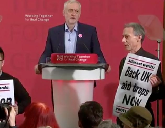 Peter Tatchell was among protesters who disrupted Jeremy Corbyn's