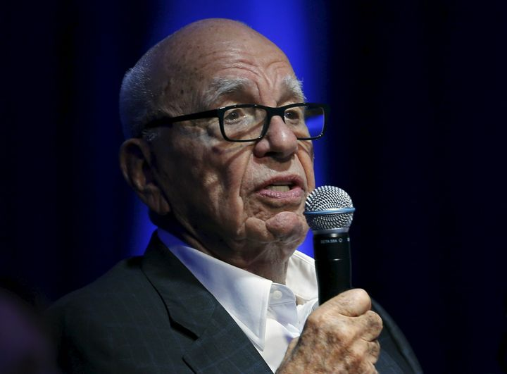 Rupert Murdoch, Executive Chairman of News Corp and 21st Century Fox, takes part as a judge during a global start up showcase