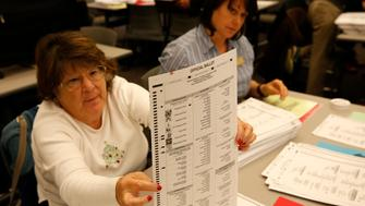 A recount of ballots cast in Oakland County, Michigan from the 2016 US presidential race are seen at the Oakland County Schools building on December 5, 2016 in Waterford, Michigan.  Green Party candidate Jill Stein asked and is paying for the recount in Michigan. / AFP / JEFF KOWALSKY        (Photo credit should read JEFF KOWALSKY/AFP/Getty Images)