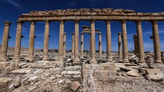 PALMYRA, SYRIA - APRIL 3, 2016: The Great Colonnade in the ancient city of Palmyra, a UNESCO world heritage site. Palmyra was recaptured from ISIS by the Syrian government army on March 27, 2016. Valery Sharifulin/TASS (Photo by Valery Sharifulin\TASS via Getty Images)