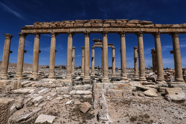 The Great Colonnade in the ancient city of Palmyra, a UNESCO world heritage site.