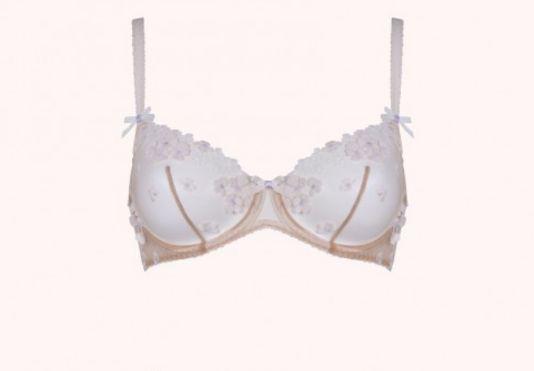 """Bethanie bra peach and lilac, $165, <a href=""""http://www.agentprovocateur.com/us_en/bethanie-bra-peach-and-lilac"""" target=""""_bla"""