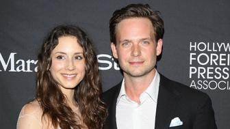 TORONTO, ON - SEPTEMBER 12:  Troian Bellisario and Patrick J. Adams arrive at the HFPA and Instyle party during the 2015 Toronto International Film Festival held at Windsor Arms on September 12, 2015 in Toronto, Canada.  (Photo by Michael Tran/FilmMagic)