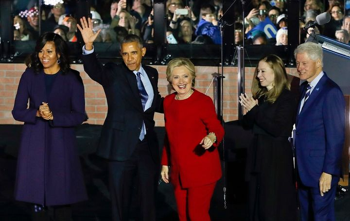 On the eve of the 2016 presidential election, an exuberant group of Democratic power players celebrates following a massive r