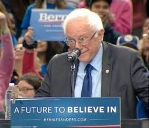 Birdie Sanders! A cogent and even-tempered Bernie Sanders gesturing towards a bird at a campaign rally...