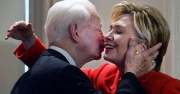 Circa 2004, Senator Hillary Clinton from New York sharing an embrace with the late Robert Byrd, the renowned...