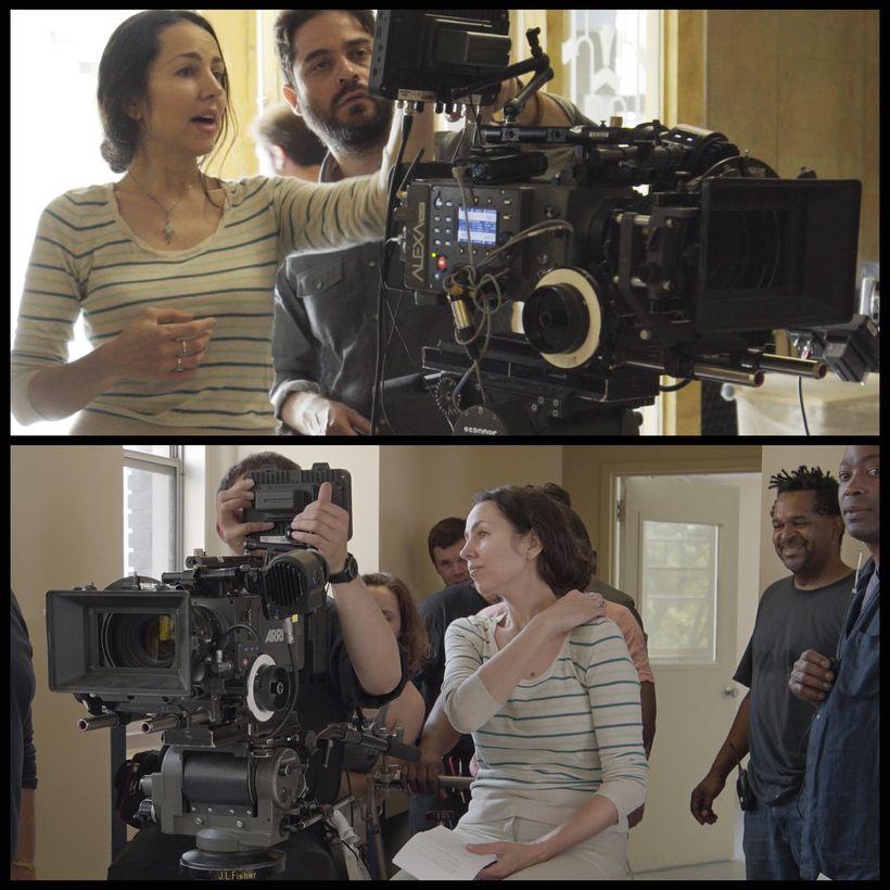 Romina Schwedler and Alain J. Carmona on set