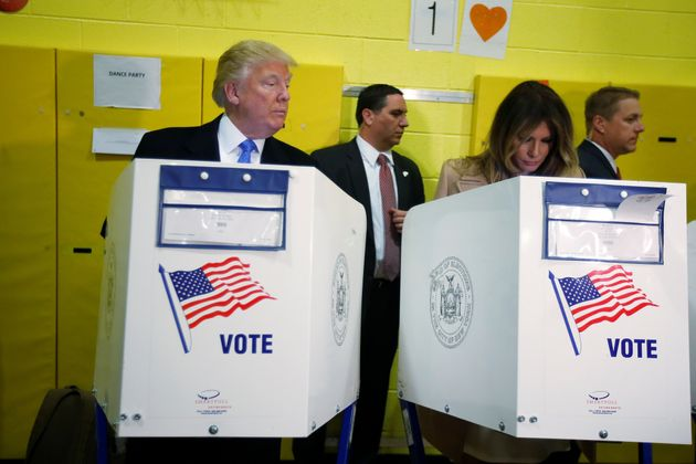 Republican presidential nominee Donald Trump and his wife Melania Trump vote at PS 59 in New York, New...