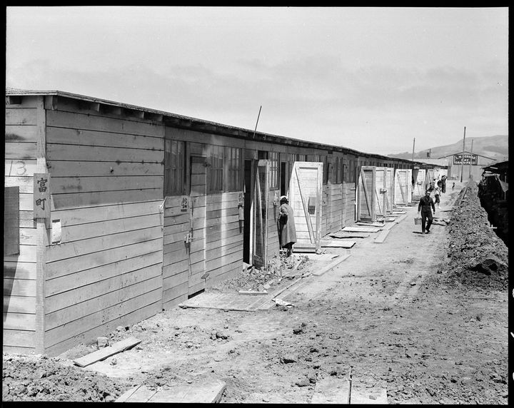 These are horse stalls where families were forced to lived. Each family had two small rooms, but the inner had no window or d