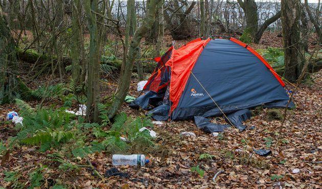 A makeshift camp found near to Amazon's Dumfermline