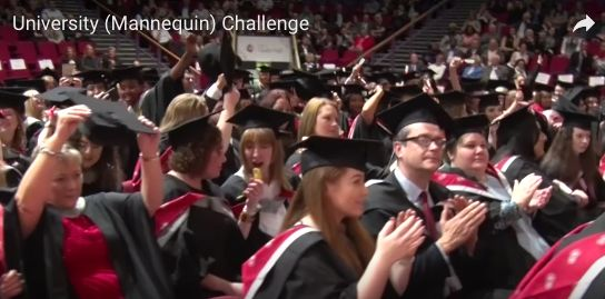 Hundreds of graduating students and their families took part in the viral video