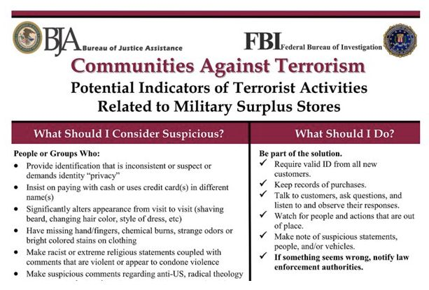 "<strong><em>A secret ""Communities Against Terrorism"" flyer.</em></strong>"