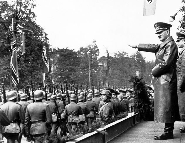 'A bit dodgy': Adolf Hitler salutes units of the German army, in Warsaw, Poland, October 5,