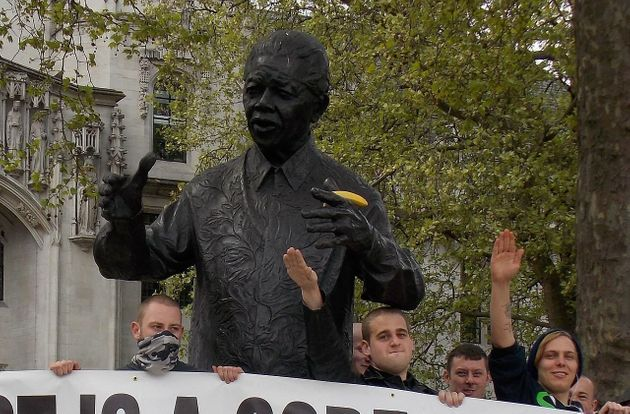 A National Actionprotest in 2014defacedthe statue of Nelson Mandela in Parliament