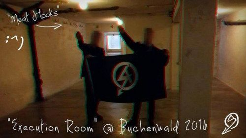 Two members of NA pictured earlier this year atBuchenwald, one of the largest concentration camps...