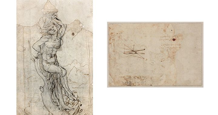 The back of the drawing shows two scientific sketches as well as notes written from right to left, as Leonardo was known to write.