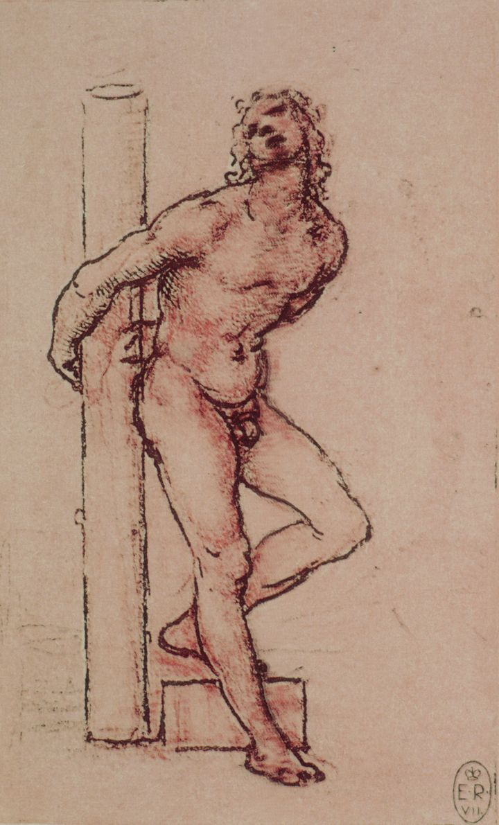 A similar sketch by Leonardo that depicts Saint Sebastian. The Italian artist is believed to have made at least eight Saint S