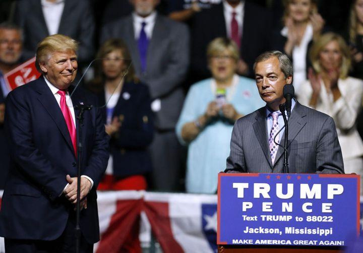 Donald Trump and United Kingdom Independence Party leader Nigel Farage at a campaign rally in Mississippi on Aug. 24.