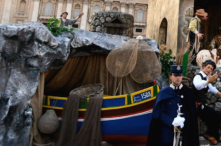 A close-up of the boat from the Vatican's nativity scene.