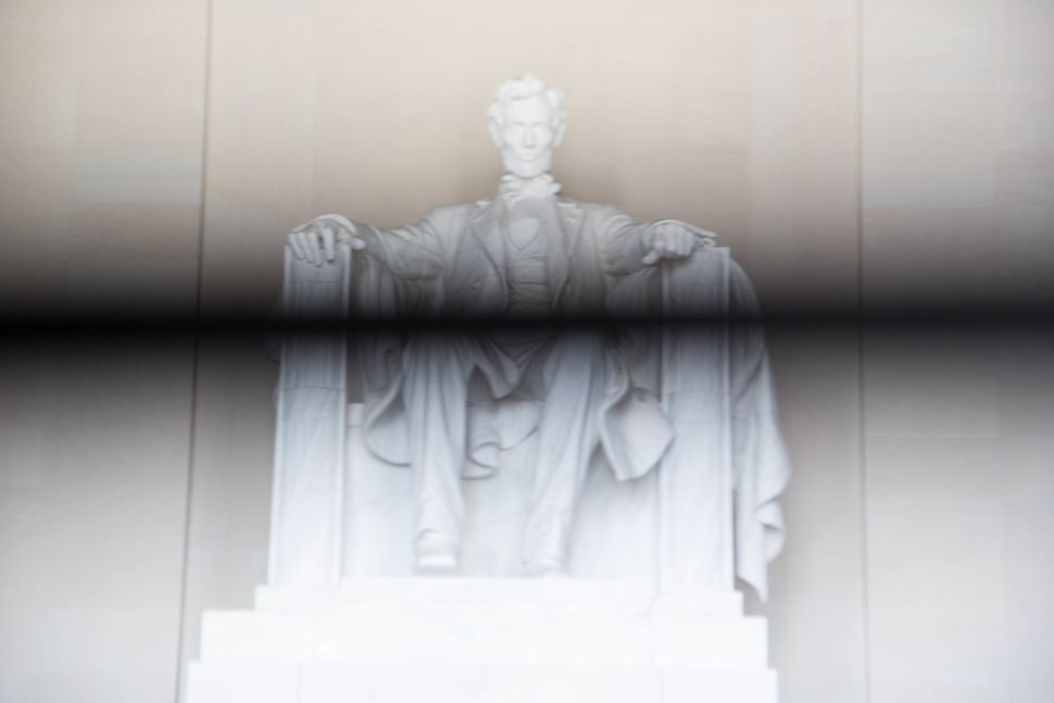 """""""Land Of Freedom's Heaven Defended Race, Lincoln Memorial,"""" 2016 Archival Pigment"""