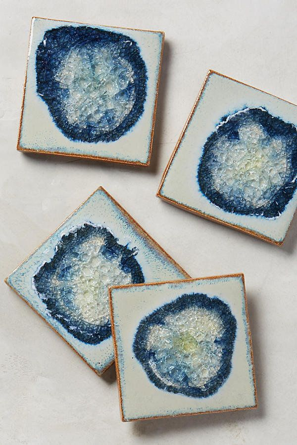 How beautiful are these clay and glass handmade coasters? A prettyaddition to any coffee table.<br><br><strong>Ce