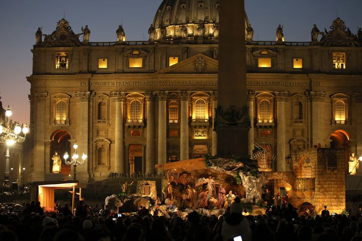 The nativity scene in Saint Peter's Square during the Christmas tree switch on ceremony on December 9, 2016 in Vatican City,