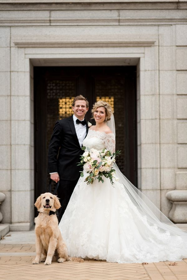 """So happy for Sarah and Dan and their adorable fur baby Beau."" -- <i>photographer Ashley Fisher</i>"