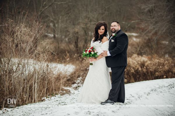 """Along with the snow they prayed over a year for, Zechariah and Megan became husband and wife this weekend at their wint"