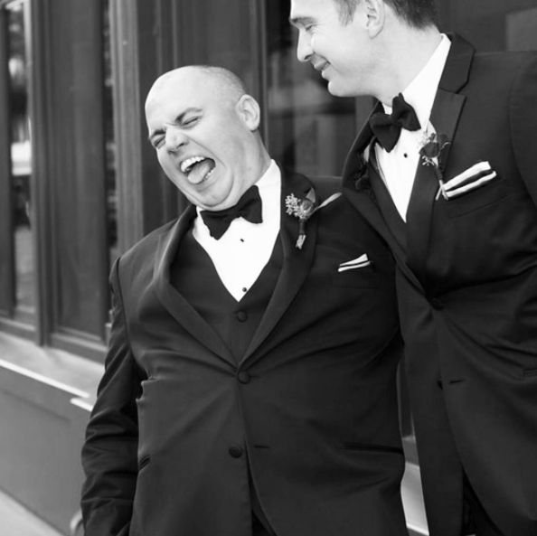 """It's the laughter we will remember at @ksommelier and Honey's rad wedding. We loved them so."" -- <i>photographer Beth B"