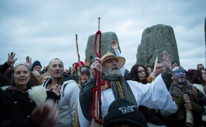 Rollo Maughfling, Archdruid of Stonehenge & Britain, conducts a winter solstice ceremony at Stonehenge on December 22, 2015 in Wiltshire, England.