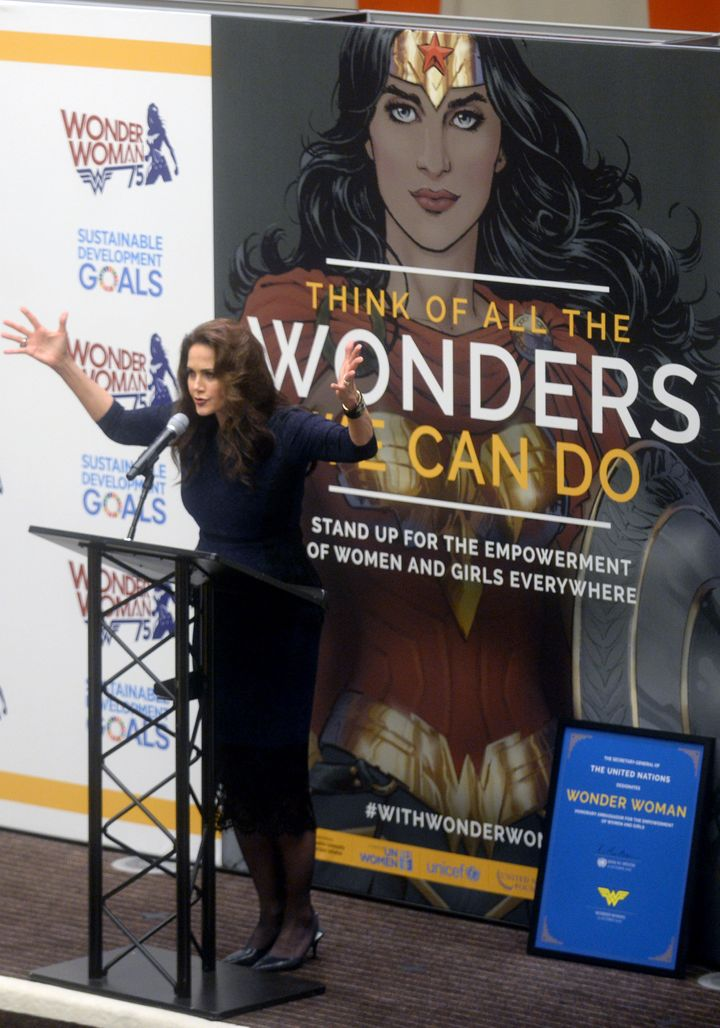 """Lynda Carterto celebrate the designations of the character as """"Honorary Ambassador for the Empowerment of Women and Girls"""" on October 21, 2016, in New York City."""