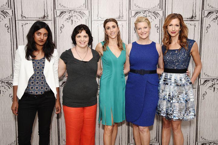 Director Meera Menon, Writer Amy Fox, Sarah Megan Thomas, Anna Gunn, Alysia Reiner attend AOL Build Presents Meera Menon, Ann