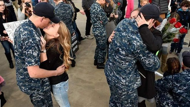 Military families reunited last month at a Navy submarine base in Groton, Connecticut, following a deployment. Laws recently