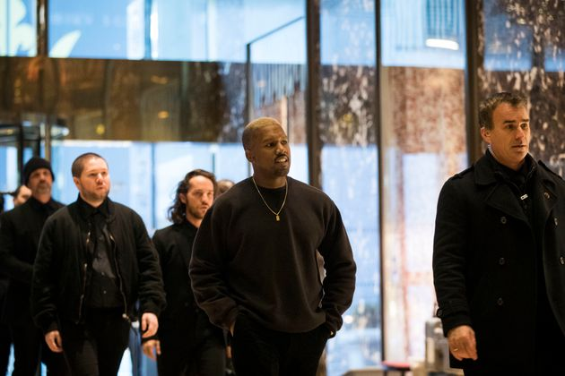 Kanye West and his entourage at Trump