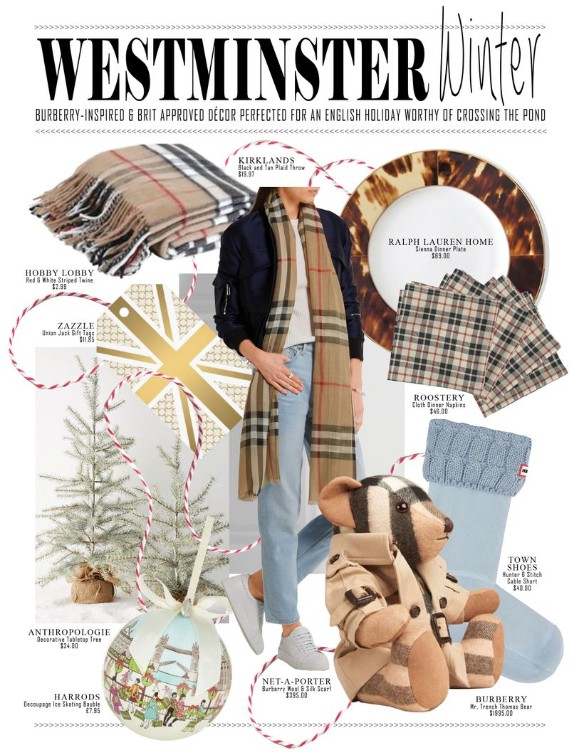 Westminster Winter Burberry Inspired Brit Roved Décor Perfected For An English Holiday Worthy Of Crossing The Pond
