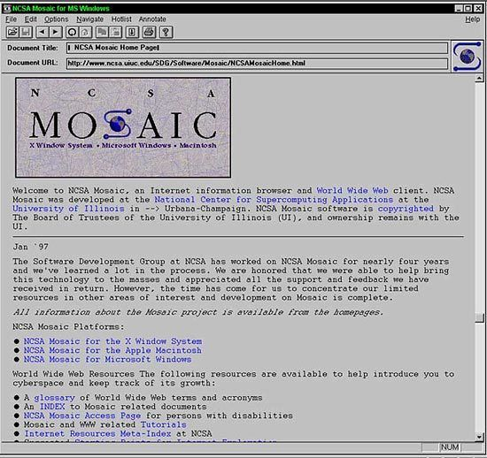 NCSA Mosaic 1.0, the first web browser to achieve popularity among the general public.